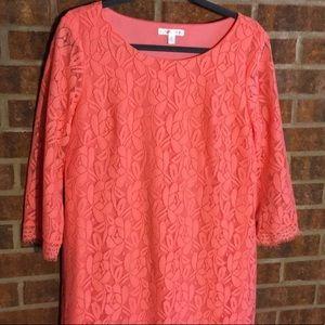 London Times Peach 3/4 Length Sleeve Lace Dress